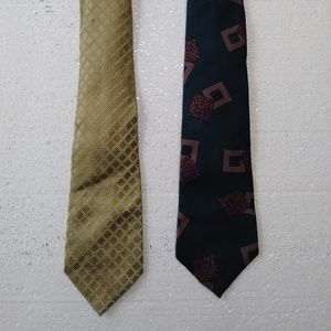 Lot of 2 Vintage Claiborne Gold Neck Tie and Teal